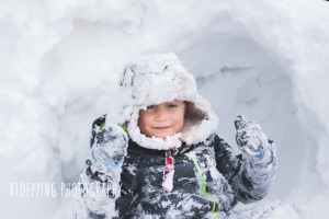 snow covered boy